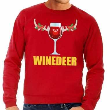 Foute kersttrui winedeer rood voor man