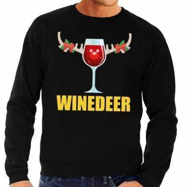 Foute kersttrui winedeer zwart voor man