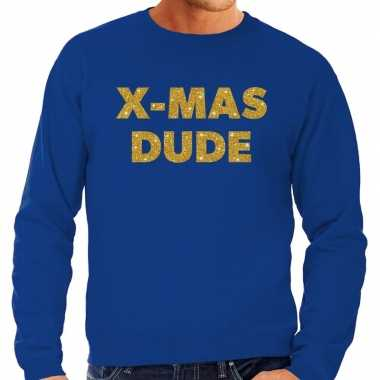Foute kersttrui x mas dude gouden glitter letters blauw man