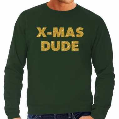 Foute kersttrui x mas dude gouden glitter letters groen man