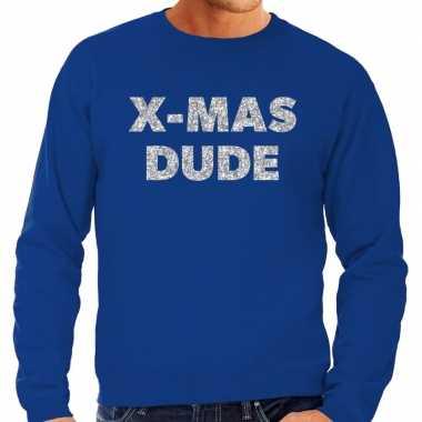 Foute kersttrui x mas dude zilveren glitter letters blauw man