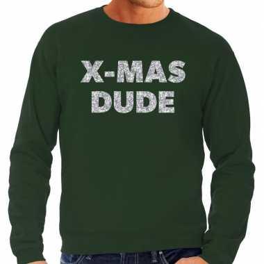 Foute kersttrui x mas dude zilveren glitter letters groen man