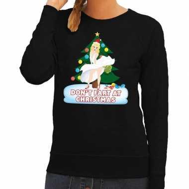 Foute kersttrui zwart dont fart at christmas voor dames man