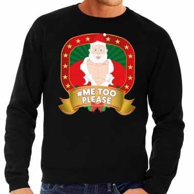 Foute kersttrui zwart hashtag me too please voor man
