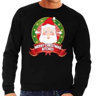 Foute kersttrui zwart merry christmas bitches voor man
