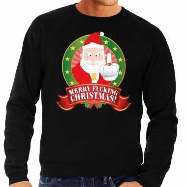 Foute kersttrui zwart merry fucking christmas voor man