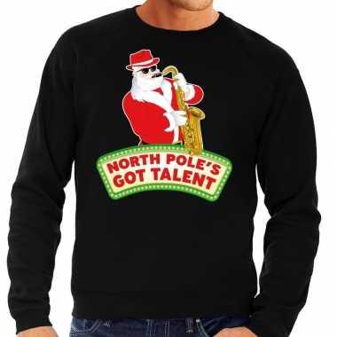 Foute kersttrui zwart north poles got talent voor man