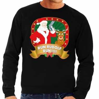 Foute kersttrui zwart run rudolf run voor man