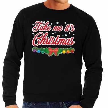 Foute kersttrui zwart take me its christmas voor man