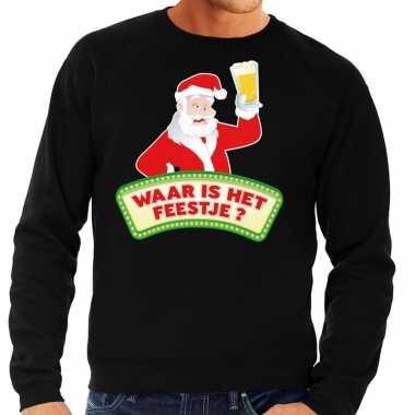 Foute kersttrui zwart waar is het feestje voor man