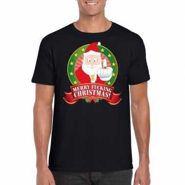 Gangster kerstman trui zwart merry fucking christmas voor man