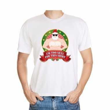 Gespierde kerstman trui wit im too sexy for this trui voor man