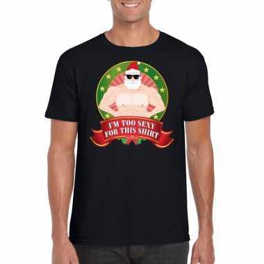 Gespierde kerstman trui zwart im too sexy for this trui voor man