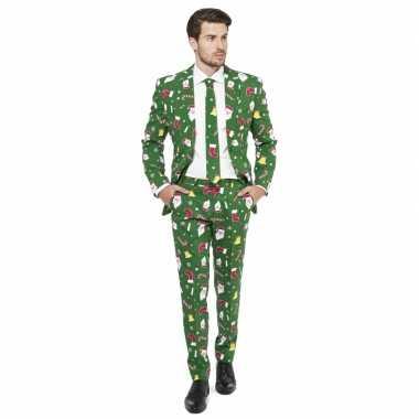 Groene business suit met kerst print man 10077605