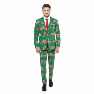 Groene business suit met kerst print man