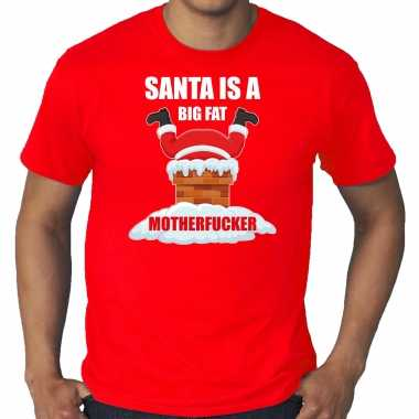 Grote maten fout kersttrui / outfit santa is a big fat motherfucker rood voor man