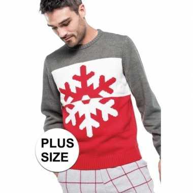 Grote maten foute kersttrui grijs/rood met sneeuwvlok voor man
