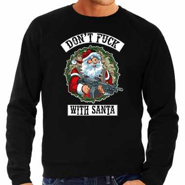 Grote maten foute kersttrui / outfit dont fuck with santa zwart voor man