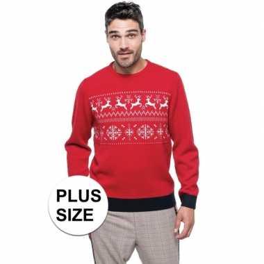 Grote maten foute kersttrui rood met noorse print voor man