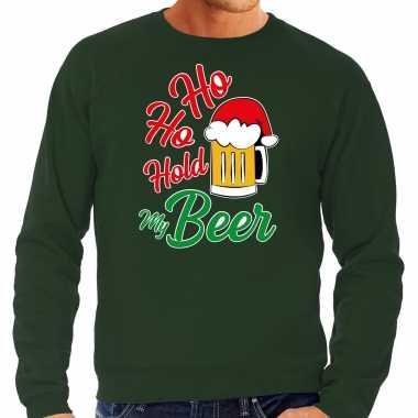 Grote maten ho ho hold my beer fout kersttrui / outfit groen voor man