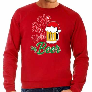 Grote maten ho ho hold my beer fout kersttrui / outfit rood voor man