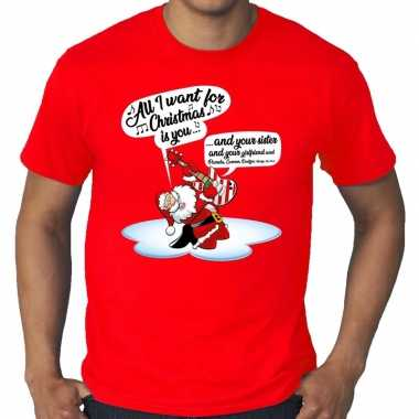 Grote maten kerstrui zingende kerstman met gitaar rood man