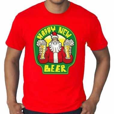 Grote maten nieuwjaar trui happy new beer / bier rood man