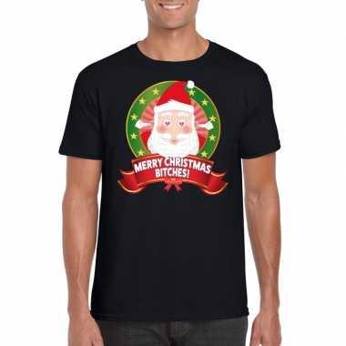 Hartjesogen kerstman trui zwart merry christmas bitches voor man