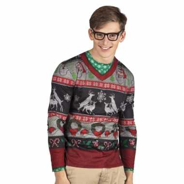 Kerst t trui met rendieren print man