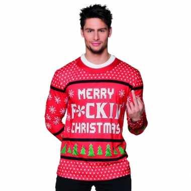 Kerst t trui met sneeuwvlokken print man