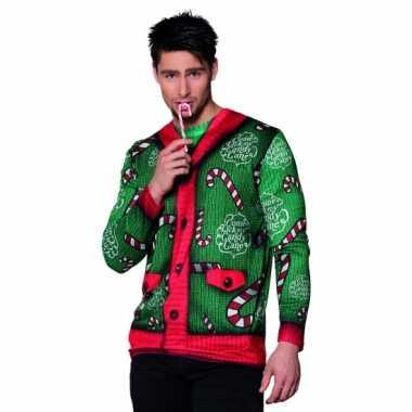 Kerst t trui met zuurstokken print man
