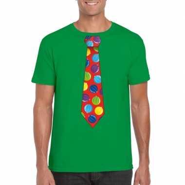 Kerst t trui stropdas met kerstballen print groen voor man
