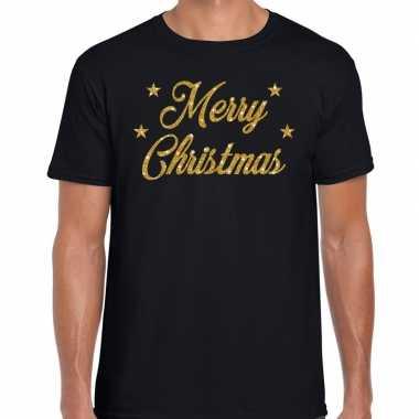 Kerstrui merry christmas gouden glitter letters zwart man