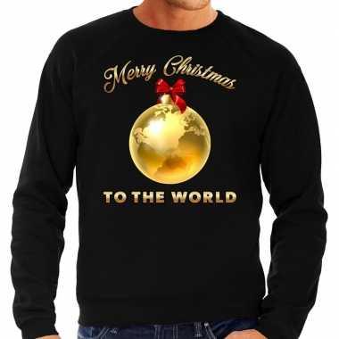 Kersttrui merry christmas to the world goud glitter zwart man