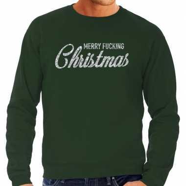 Kersttrui merry fucking christmas zilver glitter groen man
