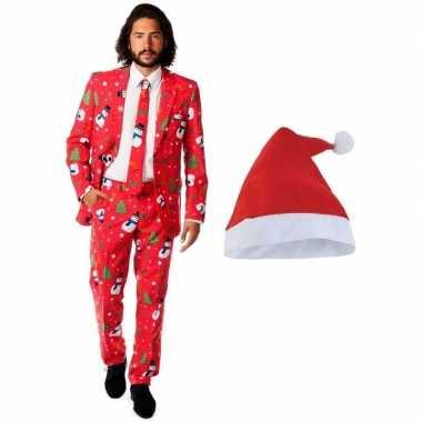 Man opposuits kerst kostuum rood met kerstmuts maat 52 (xl)