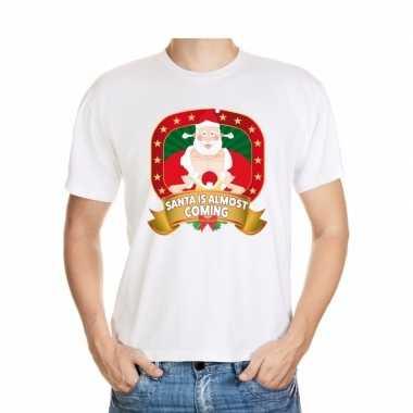 Player kerstman trui wit santa is almost coming voor man