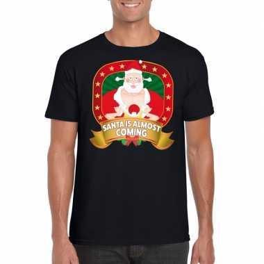 Player kerstman trui zwart santa is almost coming voor man