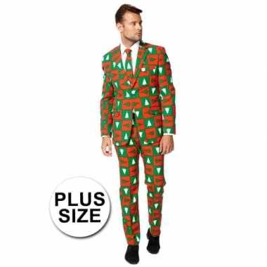 Plus size business suit met kerst print man