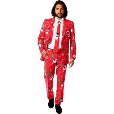 Rode business suit met kerst print man