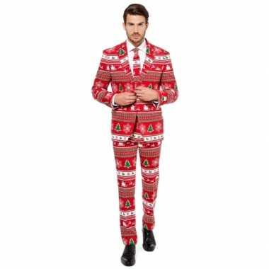 Rode business suit met kerstboom print man