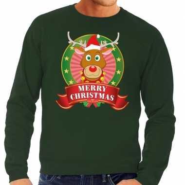 Rudolf kersttrui groen merry christmas voor man