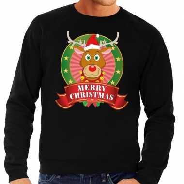 Rudolf kersttrui zwart merry christmas voor man