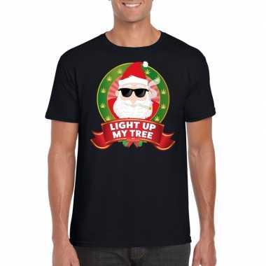 Stoned kerstman trui zwart light up my tree / joint voor man