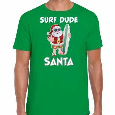 Surf dude santa fun kersttrui / outfit groen voor man