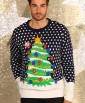 Blauwe kerst sweater met lichtjes man