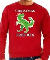 Christmas tree rex kersttrui outfit rood voor man