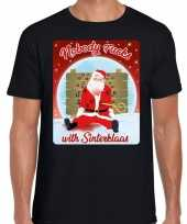 Fout kerst trui nobody fucks with sinterklaas zwart man