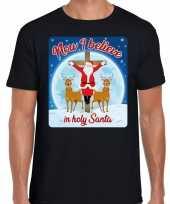 Fout kerst trui now i believe zwart voor man
