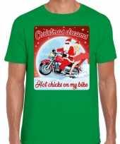 Fout kerst trui voor motorliefhebbers hot chicks groen man